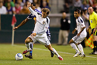 LA Galaxy midfielder David Beckham moves with the ball makes his first start after returning from injury. The New York Red Bulls beat the LA Galaxy 2-0 at Home Depot Center stadium in Carson, California on Friday September 24, 2010.