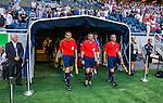 Solna 2014-07-24 Fotboll Europa League AIK - Linfield FC :  <br /> domare Fredy Fautrel (FRA) , assisterande domare Philippe Jeanne (FRA)  och assisterande domare Mathieu Grosbost (FRA) p&aring; v&auml;g ut till matchen mellan AIK och Linfield <br /> (Foto: Kenta J&ouml;nsson) Nyckelord:  AIK Gnaget Friends Arena Linfield LFC Europa League Kval domare referee ref