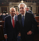 Secretary of Commerce Wilbur Ross (L) and Senate Majority Leader Mitch McConnell of Kentucky (R) depart after US President Donald J. Trump after delivered his first address to a joint session of Congress from the floor of the House of Representatives in Washington, DC, USA, 28 February 2017.  Traditionally the first address to a joint session of Congress by a newly-elected president is not referred to as a State of the Union.<br /> Credit: Jim LoScalzo / Pool via CNP