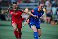 Seattle, WA - Saturday, July 1, 2017:  Hayley Raso and Christine Nairn during a regular season National Women's Soccer League (NWSL) match between the Seattle Reign FC and the Portland Thorns FC at Memorial Stadium.