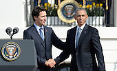 Prime Minister Justin Trudeau of Canada shakes hands with United States President Barack Obama during a welcoming ceremony to the White House for an Official Visit March 10, 2016 in Washington,D.C. <br /> Credit: Olivier Douliery / Pool via CNP