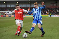 Blackpool's Connor Ronan under pressure from Fleetwood Town's Wes Burns<br /> <br /> Photographer Kevin Barnes/CameraSport<br /> <br /> The EFL Sky Bet League One - Fleetwood Town v Blackpool - Saturday 7th March 2020 - Highbury Stadium - Fleetwood<br /> <br /> World Copyright © 2020 CameraSport. All rights reserved. 43 Linden Ave. Countesthorpe. Leicester. England. LE8 5PG - Tel: +44 (0) 116 277 4147 - admin@camerasport.com - www.camerasport.com