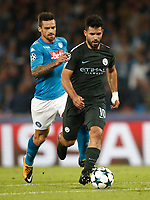 Football Soccer: UEFA Champions League Napoli vs Mabchester City San Paolo stadium Naples, Italy, November 1, 2017. <br /> Manchester City's Sergio Aguero (r) in action with Christian Maggio (l) during the Uefa Champions League football soccer match between Napoli and Manchester City at San Paolo stadium, November 1, 2017.<br /> UPDATE IMAGES PRESS/Isabella Bonotto