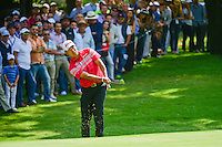 Hideki Matsuyama (JPN) chips on 1 during round 1 of the World Golf Championships, Mexico, Club De Golf Chapultepec, Mexico City, Mexico. 3/2/2017.<br /> Picture: Golffile | Ken Murray<br /> <br /> <br /> All photo usage must carry mandatory copyright credit (&copy; Golffile | Ken Murray)