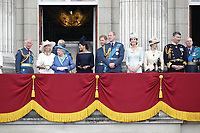 Sophie Countess of Wessex, Prince Charles, Prince Andrew, Camilla Duchess of Cornwall, HM The Queen Elizabeth II, Meghan Duchess of Sussex, Prince William, Prince Harry, Catherine Duchess of Cambridge, Princess Anne<br /> The Royal Family watch RAF centenary fly-past at Buckingham Palace, The Mall, London, England on July 10, 2018.<br /> CAP/GOL<br /> &copy;GOL/Capital Pictures