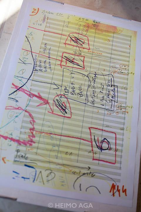"""Giudecca. Fondazione Archivio Luigi Nono. Sketches and notes of the composer for """"Al gran sole carico d'amore""""."""