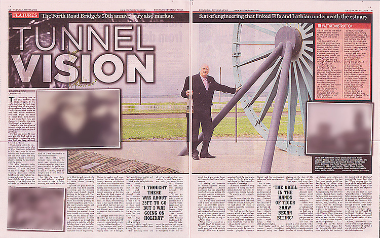 Edinburgh Evening News, p14-15 spread, Alistair Moore, engineer of the, now closed, Forth Tunnel used to transport coal from Bo'ness to Fife.<br />