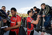 Haani Halaeua & Sherwin Stowers sign autographs after the game. Air New Zealand Air NZ Cup warm-up rugby game between the Counties Manukau Steelers & Tasman Mako's, played at Growers Stadium Pukekohe on Sunday July 20th 2008..Counties Manukau won the match 30 - 7.