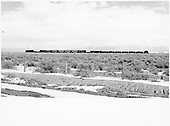 Distant view of entire D&amp;RGW mixed-gauge freight train headed by K-37 #497.  Note flanger, two idler cars, seven SG reefers, assorted NG freight cars and a short caboose.<br /> D&amp;RGW  between Hooper and Mosca, CO  Taken by Richardson, Robert W. - 1/14/1949