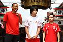 (L to R) Dai Tamesue, Kohei Uchimura, Koko Tsurumi, JULY 30, 2011 : Tokyo Sports Town 2011 at Senso-ji, Tokyo, Japan. (Photo by YUTAKA/AFLO SPORT) [1040]