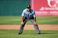 Umpire Robert Nunez during a game between the Williamsport Crosscutters and Auburn Doubledays on June 26, 2016 at Falcon Park in Auburn, New York.  Auburn defeated Williamsport 3-1.  (Mike Janes/Four Seam Images)