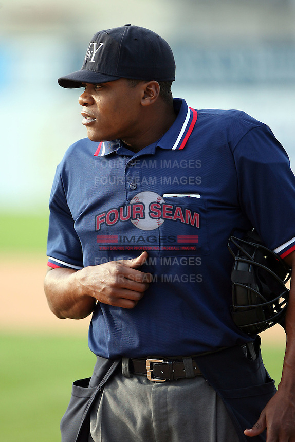 June 21st 2008:  NY-Penn League home plate umpire Doug Vines during a game at Dwyer Stadium in Batavia, NY.  Photo by:  Mike Janes/Four Seam Images