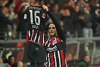 celebrate the goal, Torjubel zum 2:0 Goncalo Paciencia (Eintracht Frankfurt) mit dem Trikot von Teamkollegen Lucas Torro (Eintracht Frankfurt) - 18.12.2019: Eintracht Frankfurt vs. 1. FC Koeln, Commerzbank Arena, 16. Spieltag<br /> DISCLAIMER: DFL regulations prohibit any use of photographs as image sequences and/or quasi-video.