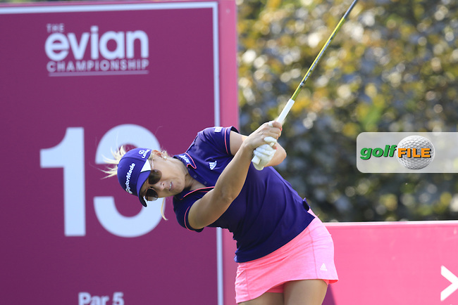 during Thursday's Round 1 of the LPGA 2015 Evian Championship, held at the Evian Resort Golf Club, Evian les Bains, France. 10/09/2015.<br /> Picture Eoin Clarke | Golffile