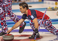 Glasgow. SCOTLAND.  Norway's Thomas ULSRUD, guiding his &quot;Stone&quot; towards the Hog Line during his &quot;Round Robin&quot; Game. Le Gruy&egrave;re European Curling Championships. 2016 Venue, Braehead  Scotland<br /> Tuesday  22/11/2016<br /> <br /> [Mandatory Credit; Peter Spurrier/Intersport-images]