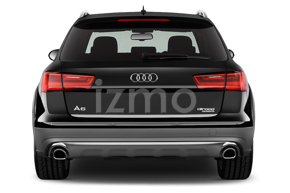 Straight rear view of a 2015 Audi A6 Allroad Quattro - 5 Door Wagon Rear View  stock images