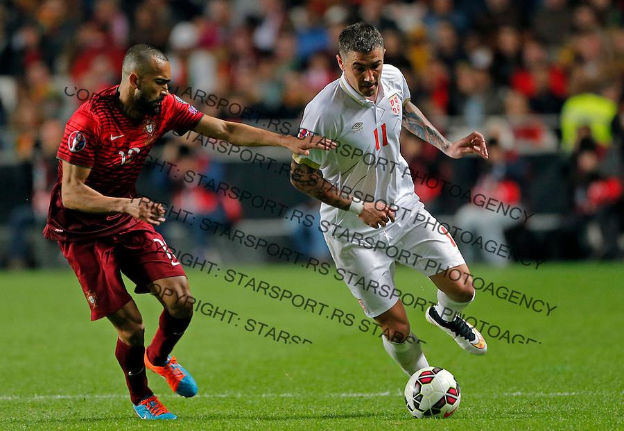 Jose Bosingwa Aleksandar Kolarov Uefa EURO 2016 qualifying football match between Portugal and Serbia in Lisboa, Portugal on March 29. 2015.  (credit image & photo: Pedja Milosavljevic / STARSPORT)