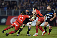 Matt Garvey of Bath Rugby takes on the Toulon defence. European Rugby Champions Cup match, between Bath Rugby and RC Toulon on December 16, 2017 at the Recreation Ground in Bath, England. Photo by: Patrick Khachfe / Onside Images
