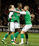 Iasiah Osbourne celebrates with Leigh Griffiths and Gary O'Connor after scoring for Hibs