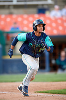 Lynchburg Hillcats catcher Angel Lopez Alvarez (20) runs to first base during the first game of a doubleheader against the Frederick Keys on June 12, 2018 at Nymeo Field at Harry Grove Stadium in Frederick, Maryland.  Frederick defeated Lynchburg 2-1.  (Mike Janes/Four Seam Images)