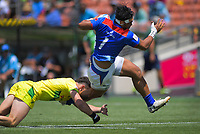 Samoa's Tofatu Solia is tackled during the men's pool match against Australia. Day two of the 2020 HSBC World Sevens Series Hamilton at FMG Stadium in Hamilton, New Zealand on Sunday, 26 January 2020. Photo: Dave Lintott / lintottphoto.co.nz