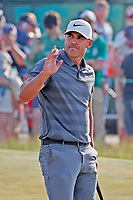 Brooks Koepka (USA) reacts to making a birdie putt on the 16th hole during the 118th U.S. Open Championship at Shinnecock Hills Golf Club in Southampton, NY, USA. 17th June 2018.<br /> Picture: Golffile | Brian Spurlock<br /> <br /> <br /> All photo usage must carry mandatory copyright credit (&copy; Golffile | Brian Spurlock)