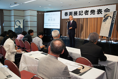 Tadashi Kobayashi, chairman of International UKIYO-E Society, chairman of Okada Museum, and chief editor of Shuka (art magazine) speaks to the audience during a press conference to promote ''Shunga'', an exhibition of Japanese erotic art, at the Foreign Correspondents Club of Japan on May 21, 2015, Tokyo, Japan. The exhibition is organized with the collaboration of museums in Japan, Britain and other European countries, and showcases 120 shunga paintings which will be displayed together for the first time. Shunga is a Japanese erotic art, which was produced between 1600 and 1900, and continues to influence manga, anime and Japanese tattoo art. The actual exhibition will be held from September 19th to December 23rd at the Eisei-Bunko Museum. (Photo by Rodrigo Reyes Marin/AFLO)