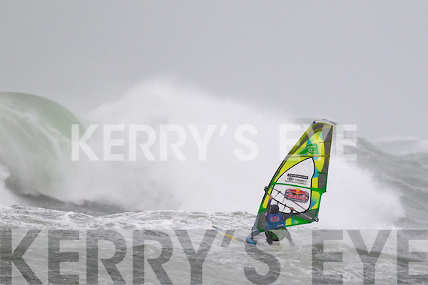 Competitor Josh Angulo pictured at the Red Bull Storm Chase windsurfing competition at the Maherees on Monday.