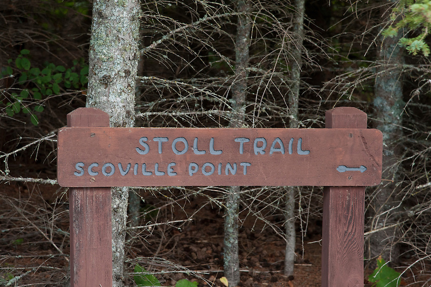 Signage points the way to the Stoll Trail on Scoville Point at Isle Royale National Park.