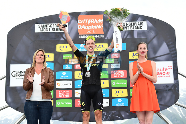 Adam Yates (GBR) Mitchelton-Scott wins Stage 7 of the 2018 Criterium du Dauphine 2018 running 136km from Moutiers to Saint Gervais Mont Blanc, France. 10th June 2018.<br /> Picture: ASO/Alex Broadway | Cyclefile<br /> <br /> <br /> All photos usage must carry mandatory copyright credit (© Cyclefile | ASO/Alex Broadway)