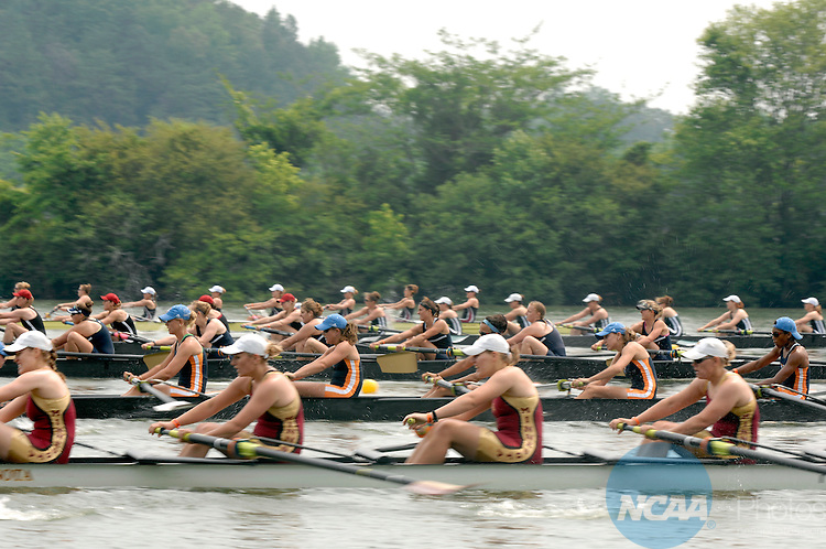 27 MAY 2007: The Division I First Eights Petite Final field gets off to a fast start during the Division I Women's Rowing Championship held at the ORRA-Melton Hill Lake in Oak Ridge, TN. Stephen Nowland/NCAA Photos