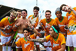 London, UK on Sunday 31st August, 2014. The Janoskians team celebrate victory during the Soccer Six charity celebrity football tournament at Mile End Stadium, London.