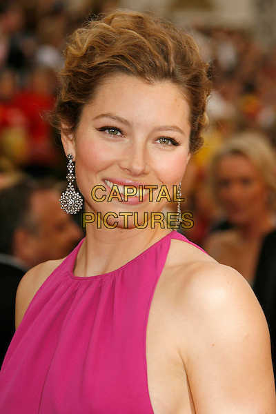JESSICA BIEL.The 79th Annual Academy Awards - Arrivals held at the Kodak Theatre, Hollywood, California, USA. .February 25th, 2007.oscars headshot portrait pink earrings dangling.CAP/ADM/RE.©Russ Elliot/AdMedia/Capital Pictures