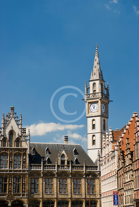 Belgium, Ghent, Belfry tower and Gothic buildings