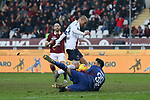 Torino FC goalkeeper Salvatore Sirigu saves at Rodrigo Palacio of Bologna's feet late on in the Serie A match at Stadio Grande Torino, Turin. Picture date: 12th January 2020. Picture credit should read: Jonathan Moscrop/Sportimage