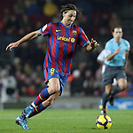 Football Season 2009-2010. Barcelona's player Zlatan Ibrahimovic during their spanish liga soccer match at Camp Nou stadium in Barcelona. January 16, 2010.