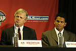 12 November 2004: Kansas City head coach Bob Gansler (left) and player captain Diego Gutierrez (right). Major League Soccer held their annual pre-MLS Cup press conference at the Home Depot Center in Carson, CA two days before the Kansas City Wizards were scheduled to play DC United in the league's annual championship game..