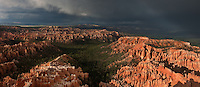 904000017 a panoramic view of summer monsoon thunderstorm with dramatic light as seen from bryce point in bryce canyon national park utah united states