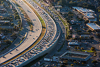 Aerial view from a helicopter of Highway 183 & Anderson Mill Rd. during 7:15 am morning rush-hour traffic in Austin, Texas.
