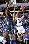 SIOUX FALLS, SD: MARCH 5: Zach Jackson #21 from Omaha takes the ball to the basket against Fort Wayne during the Summit League Basketball Championship on March 5, 2017 at the Denny Sanford Premier Center in Sioux Falls, SD. (Photo by Dave Eggen/Inertia)