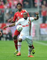FUSSBALL   1. BUNDESLIGA  SAISON 2011/2012   29. Spieltag FC Bayern Muenchen - FC Augsburg       07.04.2012 David Alaba (li, FC Bayern Muenchen) gegen Nando Rafael (FC Augsburg)