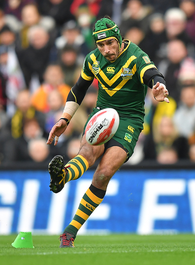 Australia's Johnathan Thurston<br /> <br /> Photographer Dave Howarth/CameraSport<br /> <br /> 2016 Four Nations Final - Australia v New Zealand - Sunday 20th November 2016 - Anfield - Liverpool<br /> <br /> World Copyright &copy; 2016 CameraSport. All rights reserved. 43 Linden Ave. Countesthorpe. Leicester. England. LE8 5PG - Tel: +44 (0) 116 277 4147 - admin@camerasport.com - www.camerasport.com