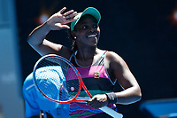 14th January 2019, Melbourne Park, Melbourne, Australia; Australian Open Tennis, day 1; <br /> Sloane Stephens of USA reacts  in the match against Taylor Townsend of USA