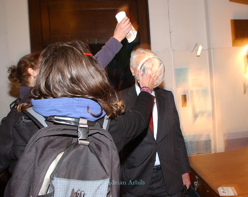 Director of Shell,Mark Moody Stewart is pied on  the way to  a talk about the sucess of the Johannesburg  Earth Summit.<br /> St James's church Picadilly, London  6:30 pm