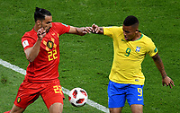 KAZAN - RUSIA, 06-07-2018: GABRIEL JESUS (Der) jugador de Brasil disputa el balón con FAGNER (Izq) jugador de Bélgica durante partido de cuartos de final por la Copa Mundial de la FIFA Rusia 2018 jugado en el estadio Kazan Arena en Kazán, Rusia. / GABRIEL JESUS (R) player of Brazil fights the ball with Nacer CHADLI (L) player of Belgium during match of quarter final for the FIFA World Cup Russia 2018 played at Kazan Arena stadium in Kazan, Russia. Photo: VizzorImage / Julian Medina / Cont