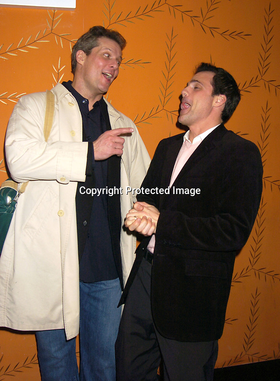 David Andrew Macdonald and Michael Park ..at the Procter and Gamble Christmas Party at LQ on ..December 10, 2004. ..Photo by Robin Platzer, Twin Images