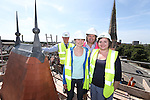 R &amp; M Williams<br /> Topping out at Four Elms Church in Cardiff.<br /> L-R: Dave Haskell, R&amp;M Williams. Jenny Clemence &amp; Kevin Sutton, Architects. Beth Gamble, No Fit State Circus.<br /> <br /> 20.08.13<br /> <br /> &copy;Steve Pope-Fotowales