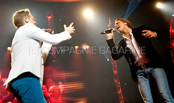 Duet of Flemish singer Christoff with Dutch singer André Hazes jr in concert at the Schlagerfestival in Hasselt (Belgium, 31/03/2013)