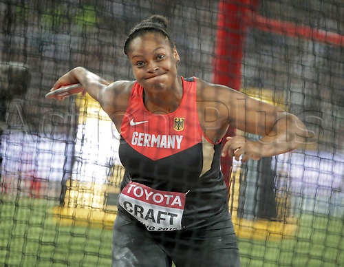 25.08.2015. Beijing, China.  Shanice Craft ofGermany in action during the women's Discus Throw final of the Beijing 2015 IAAF World Championships at the National Stadium, also known as Bird's Nest, in Beijing, China, 25 August 2015.