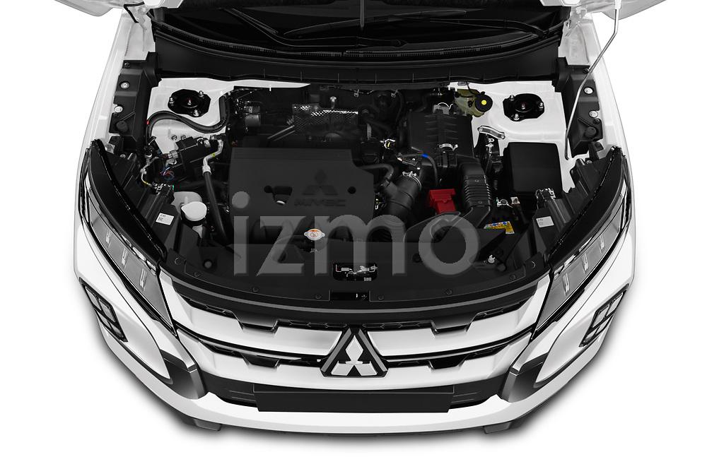 Car stock 2020 Mitsubishi ASX Intense 5 Door SUV engine high angle detail view